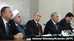 Президенты Азербайджана, Ирана, России, Казахстана и Туркменистана на саммите Прикаспийских государств в Актау. 12 августа 2018 года.