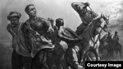 Расправа казаков с повстанцами 1916 года. Репродукция