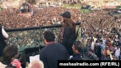کراچۍ: د پاکستان پیپلز ګوند ولسي غونډې ته بلاول بوټو زرداري وینا کوي. ۱۶م اکتوبر۲۰۱۶
