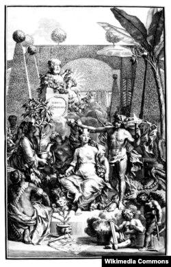 Аллегорическое изображение Карла Линнея в образе Аполлона с матерью богов Кибелой. Правой рукой Линней приподнимает завесу невежества, в правой держит светоч знания, ногой попирает дракона лжи. Фронтиспис книги Линнея Hortus Cliffortianus (1738). Гравюра Яна Ванделаара