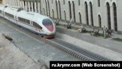 Поезд «Сапсан» на макете Железнодорожного вокзала Симферополя в Бахчисарайском парке миниатюр