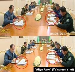 Кадры с заседаний Совета госбезопасности Туркменистана, 4 апреля (наверху) и 7 августа (внизу)