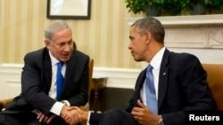 باراک اوباما، ریئیسجمهوری آمریکا (راست) و بنیامین نتانیاهو، نخستوزیر اسرائیل