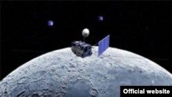 Японский спутник Kaguya (SELENE) над Луной. Реконструкция Jaxa.jp