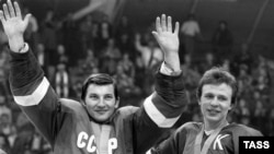 Roman Sagdeyev was an aide to the Duma Deputy Vladislav Tretyak (left), a former goalkeeper for the Soviet Union's national ice-hockey team.