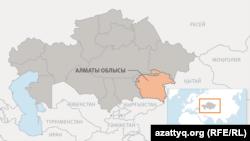 Алматы облысының картасы.
