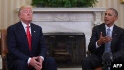 Првата средба на новоизбраниот претседател Доналд Трамп и актуелниот претседател Барак Обама во Белата куќа, 10 ноември 2016