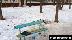 The scene of the murder of Tajik national Shohjon Rahmatshoev, who was stabbed to death in Moscow on December 26.