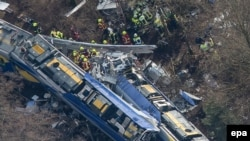 Germany -- An aerial view of rescue forces working at the site of a train accident near Bad Aibling, Bavaria, February 9, 2016