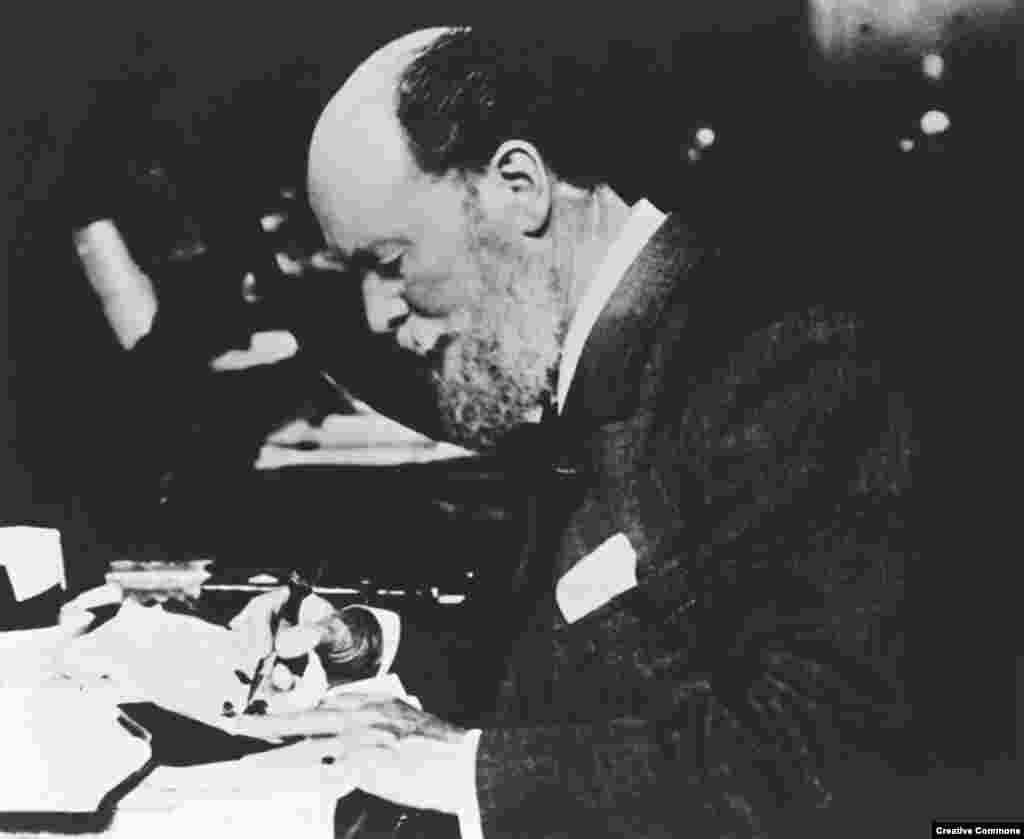 Peter Carl Faberge at work. The master jeweler did not craft the eggs himself but functioned as a kind of Steve Jobs of tsarist Russia, coming up with the ideas and driving his workers to achieve near-impossible feats of craftsmanship.