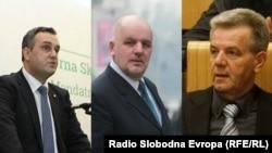 Asim Sarajlić (lijevo), Amir Zukić (sredina) i Mirsad Kukić (desno), iako im se sudi i dalje obavljaju funkcije u parlamentima BiH i Federacije BiH