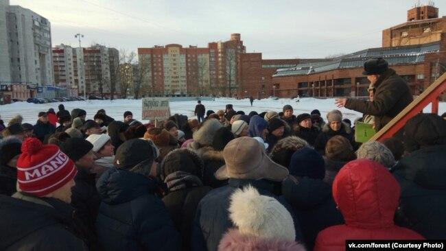 Первый митинг в защиту Пуловского леса