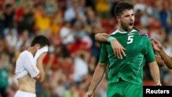 ياسر قاسم يحتفل بتسجيل هدف مباراة العراق الوحيد أمام الأردن