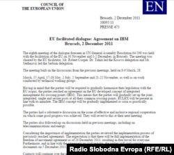 Sporazum postignut u Briselu 2. decembra 2011.