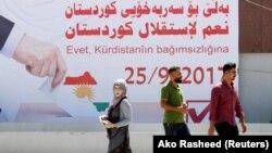 یکی از بنرهای تبلیغاتی نصب شده در کرکوک، در حمایت از همهپرسی کردستان عراق