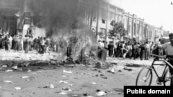 Offices of the Communist party attacked by pro-monarchy crowd as the 1953 coup unfolded in Tehran. The Islamic Republic constantly refers to this event when discussing U.S.-Iranian relations.