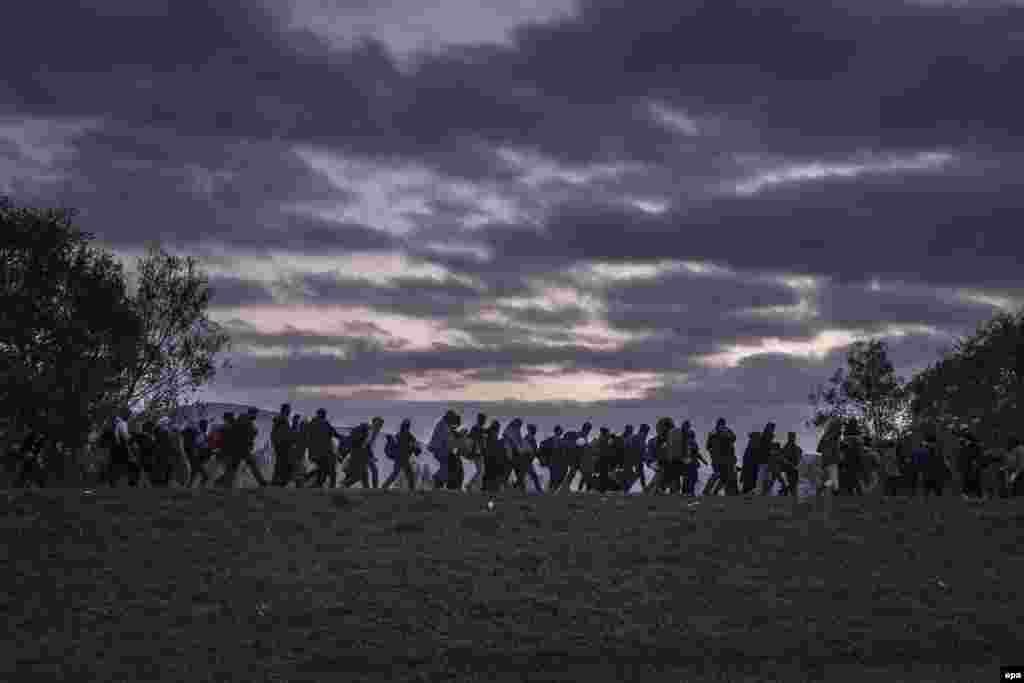 """Фотография российского фотографа Сергея Пономарева, победителя World Press Photo в категории """"Новости"""". Словения, беженцы в окружении полиции."""
