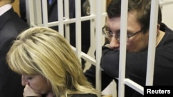 Yuriy Lutsenko holds the hand of his wife, Irina, as he stands in the defendant's cage in Kyiv on February 27.