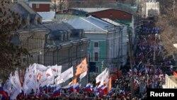 Орус оппозициясынын Борис Немцовду эскерген жүрүшү. Москва, 27-февраль, 2016-жыл.