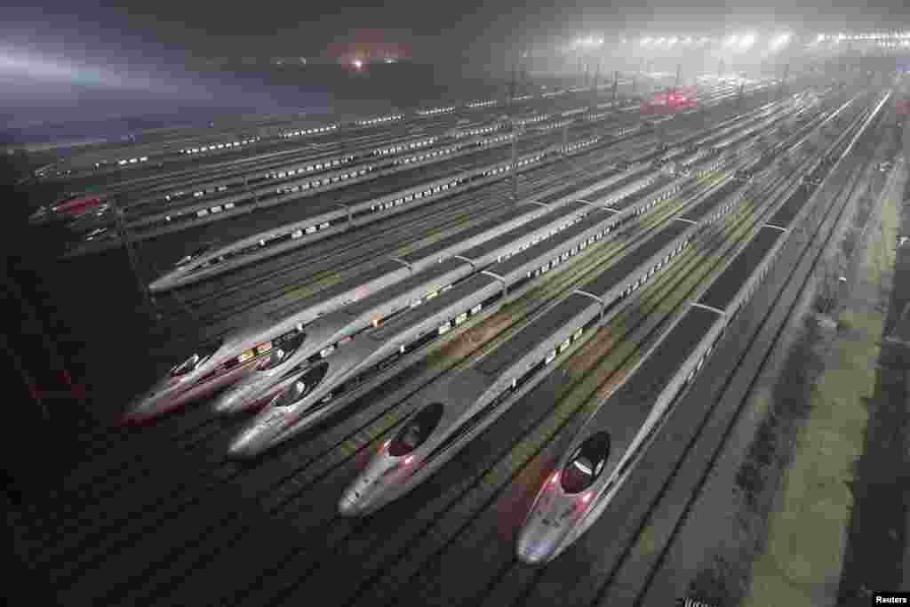 Harmony bullet trains parked at a high-speed train maintenance base in Wuhan, Hubei Province, China. (REUTERS/Stringer)