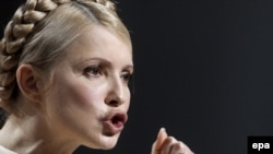Ukrainian Prime Minister and presidential candidate Yulia Tymoshenko in Kyiv on January 14