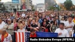 Pamje nga protestat kundër pushtetit në Maqedoni
