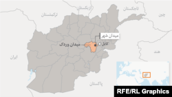 موقعیت ولایت میدان وردک در نقشه عمومی افغانستان
