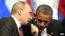 Мексика -- Владимир Путин менен Барак Обама Чоң жыйырманын саммитинде, 18-июнь, 2012.