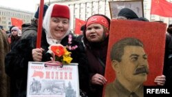 Russian communists celebrating the 90th anniversary of the Soviet Army in February