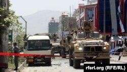 Кабулдағы жарылыс болған жер. 10 тамыз 2014 жыл.