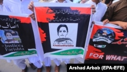 FILE: People protest against the murder and alleged rape of a 10-year-old Farishta Momand in Peshawar on May 21.