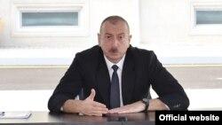Azerbaijan -- President Ilham Aliyev speaks in Ganja, June 25, 2020.