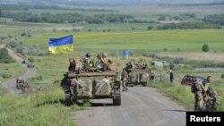 Украинские военные под городом Артемовск Донецкой области
