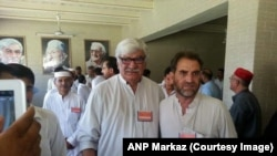 File photo of Haji Mumtaz Orakzai with Awami National Party Leader, Asfandyar Wali Khan