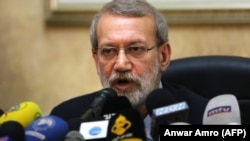 Iranian Parliament Speaker Ali Larijani gives a press conference at the Iranian embassy in the Lebanese capital Beirut, February 17, 2020