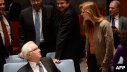 U.S. Ambassador to the United Nations Samantha Power confronts Russian UN Ambassador Vitaly Churkin.