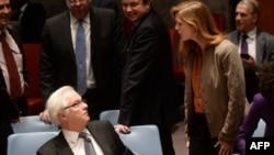 "Russian UN Ambassador Vitaly Churkin (left) accused U.S. Ambassador to the UN Samantha Power (right) of ""introducing wrong elements"" into a Security Council discussion. (file photo)"