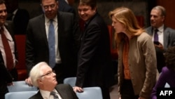 U.S. Ambassador Samantha Power confronts Russian Ambassador Vitaly Churkin at the UN Security Council in 2014.