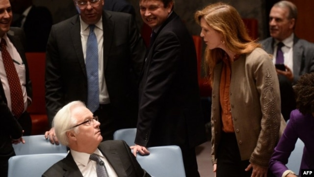 U.S. Ambassador to the United Nations Samantha Power confronts Russian UN Ambassador Vitaly Churkin.