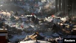Tendat e protestuesve në kryeqytetin Kiev në Ukrainë