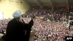 Iranian President and the winner of presidential elections Hassan Rohani speaks during a campaign rally in the northwestern city of Ardabil, May 17, 2017