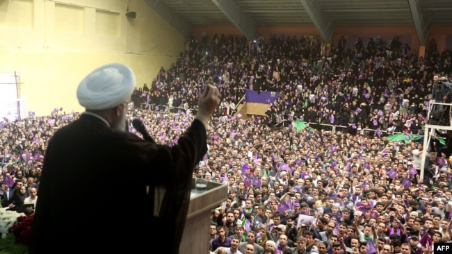 Many Iranians enthusiastically supported Rouhani in 2017. A campaign rally in the northwestern city of Ardabil, May 17, 2017