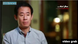 A screenshot of vido of iribnew agency shows Chinese-American national Xiyue Wang, who accused of illegally gathering information by Iranian regime, November2017