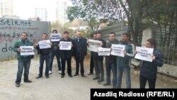 Azadlıq qəzetinin əməkdaşları aksiya edir, arxiv fotosu