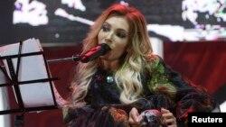 Российская певица Юлия Самойлова, не допущенная Украиной к участию в конкурсе Евровидение в Киеве. Севастополь, 9 мая 2017 года.