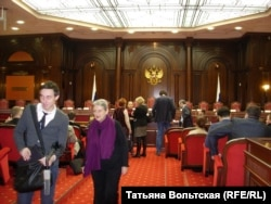 Одна из заявительниц иска, Светлана Ганнушкина, в Конституционном суде во время его рассмотрения 22 января
