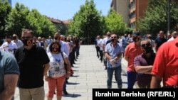 UCK veterans protest against the indictments of Hashim Thaci and Kadri Veseli for war crimes in Pristina in July.