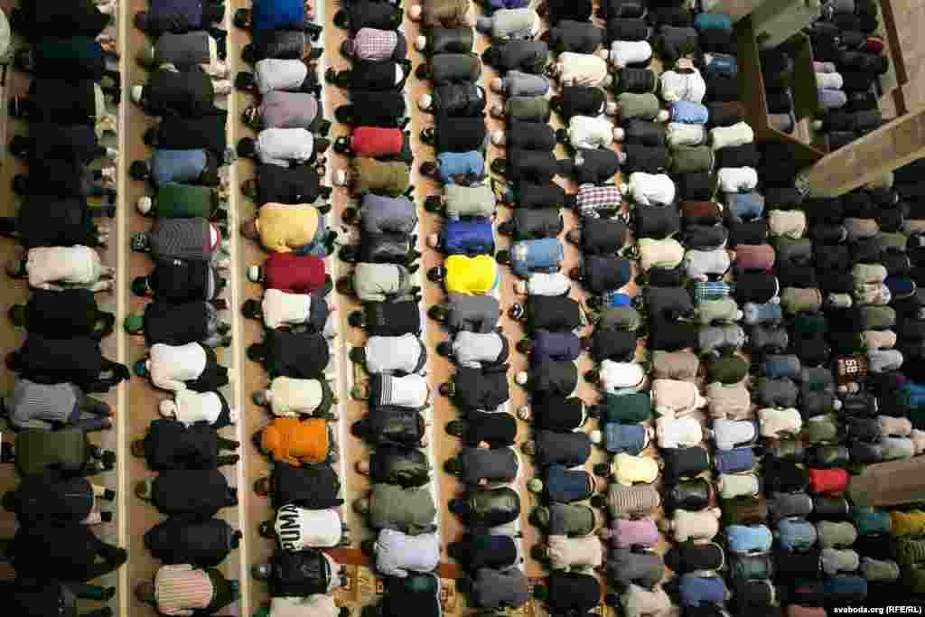 Eid al-Fitr in Minsk, Belarus, where Turkish President Recep Tayyip Erdogan opened a new grand mosque last year.