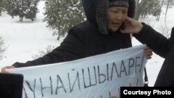 Одна из родственниц задержанных нефтяников в Жанаозене, 25 февраля 2012 года.
