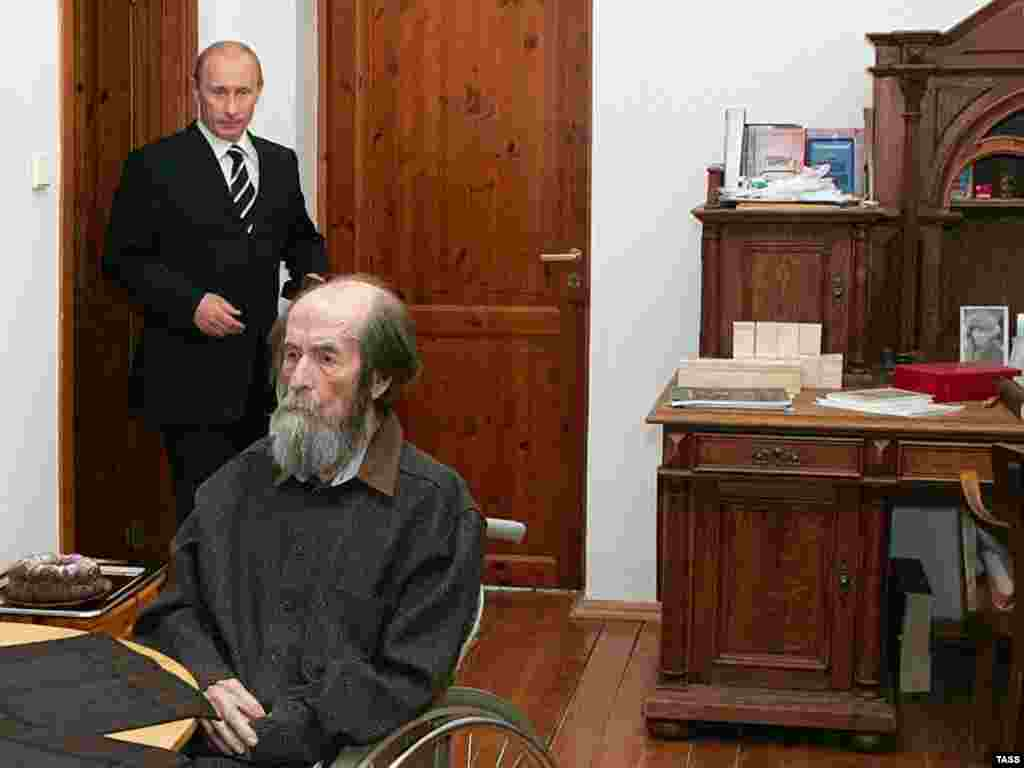 "In 2007, Solzhenitsyn received a Russian State Prize for his ""humanitarian"" contribution. He was too frail to attend the ceremony, but later met President Vladimir Putin at his home outside Moscow."